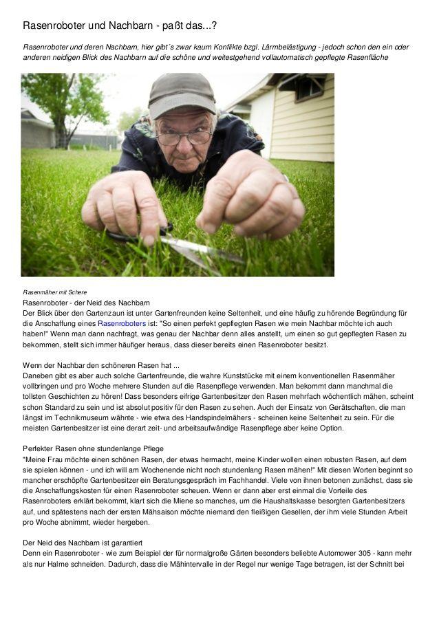 Rasenroboter und Nachbarn - paßt das...? by Michael Häußler via slideshare