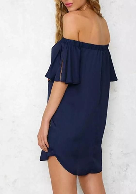 c00076ee8f5 Navy Blue Floral Print Embroidery Boat Neck Flare Sleeve Off-shoulder Mini  Dress