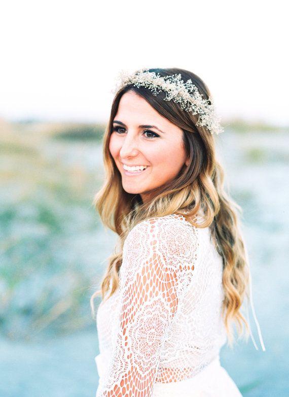Soft Dried Babys Breath Flower Crown - Ivory Floral Bridal Headpiece - Wedding Head Crown - Bridal Flower Crown - Engagement Shoot Halo