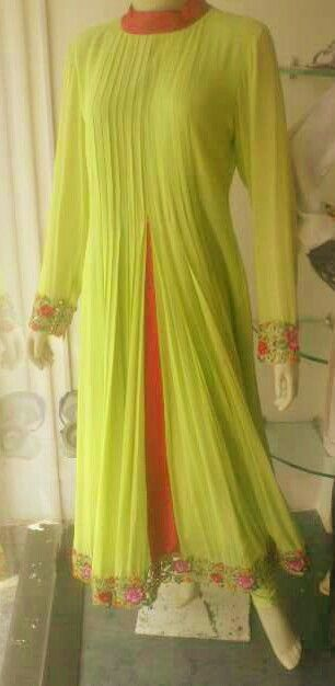 Neon green anarkali with beautiful cutwork and hot pink centre panel by Bobby K only at Jorss.