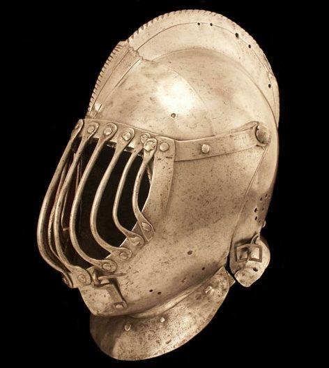 """Close helmet modified for the """"Gioco del Ponte"""" 1580-1650 Italy"""