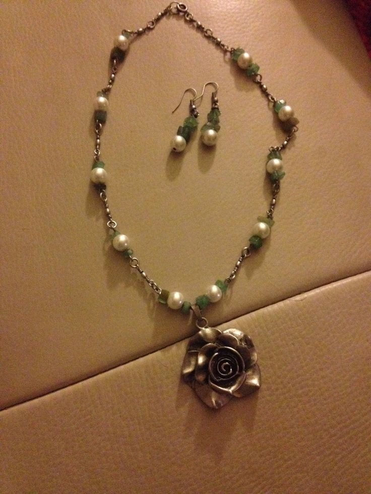 Pearls, pewter, and jade.