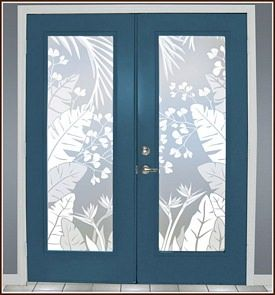 Tropical Oasis Frosted Privacy Window Film 2