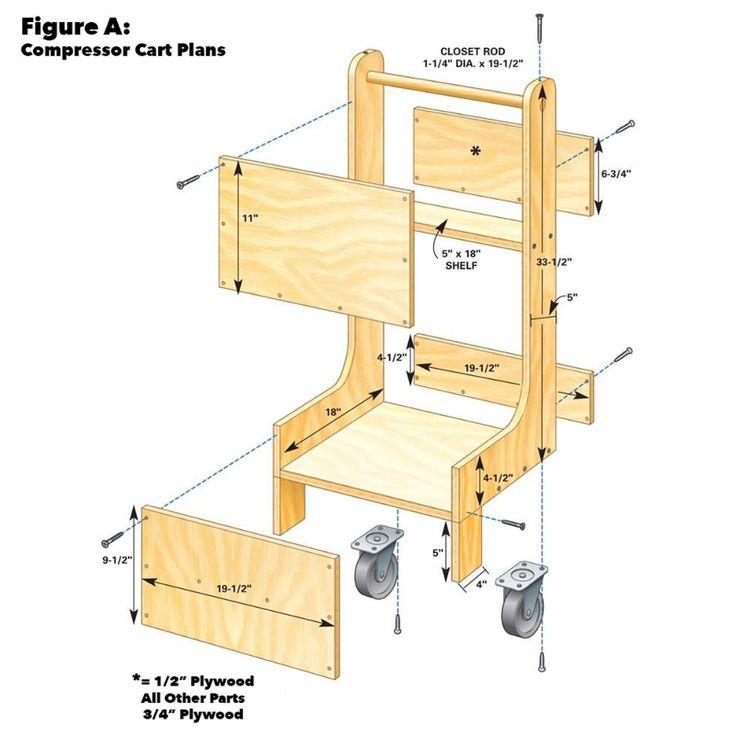 Air Compressor Cart Craft Storage Cart Workshop Storage Air Compressor