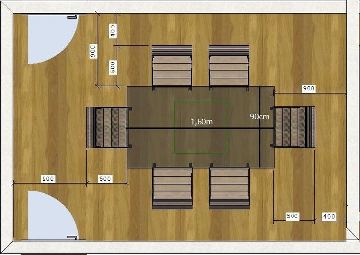 Uma mesa de jantar de 4 lugares quadrada ou redonda deve ter no mínimo 1,00 m x 1,00 m.  Uma mesa de jantar de 6 lugares retangular deve ter no mínimo 1,60 m x 0,90 m já a redonda mínimo de 1,20 m de diâmetro. Uma mesa de jantar de 8 lugares retangular deve ter no mínimo 2,00 m x 0,90 m , a quadrada no mínimo 1,40 m x 1,40 m e a redonda 1,60 m de diâmetro. Suas cadeiras  normalmente elas tem algo em torno de 50 cm x 50 cm e entre elas o ideal é ter 30 cm.