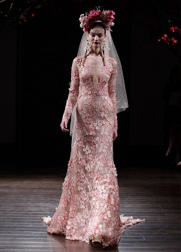 Traditional florals step aside; these fashion-forward 3D blooms add the perfect touch of texture and dimension to your dress. Naeem Khan Fall 2016 Bridal Collection