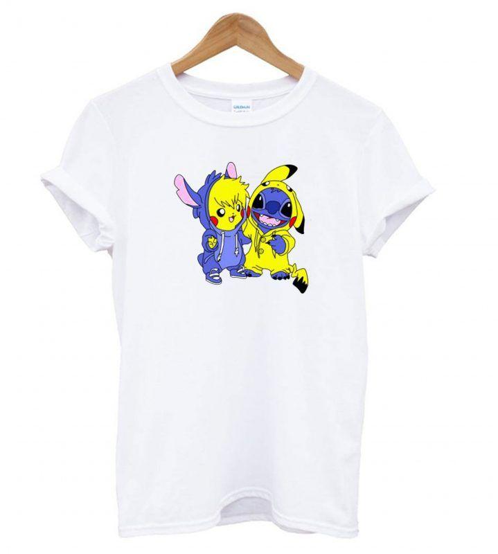8f4244f7ab73 Stitch & Pikachu T shirt | T shirt | Shirts, Stitch, T shirt