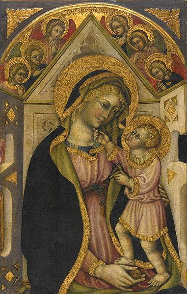 PRIAMO DELLA QUERCIA , ACTIVE IN SIENA 1442-1467 THE MADONNA AND CHILD ENTHRONED WITH ADORING ANGELS.jpg