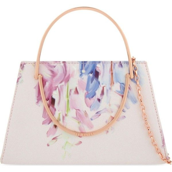TED BAKER Cindy Hanging Gardens clutch ($125) ❤ liked on Polyvore featuring bags, handbags, clutches, baby pink, pink hand bags, top handle purse, chain strap purse, man bag and handbags purses