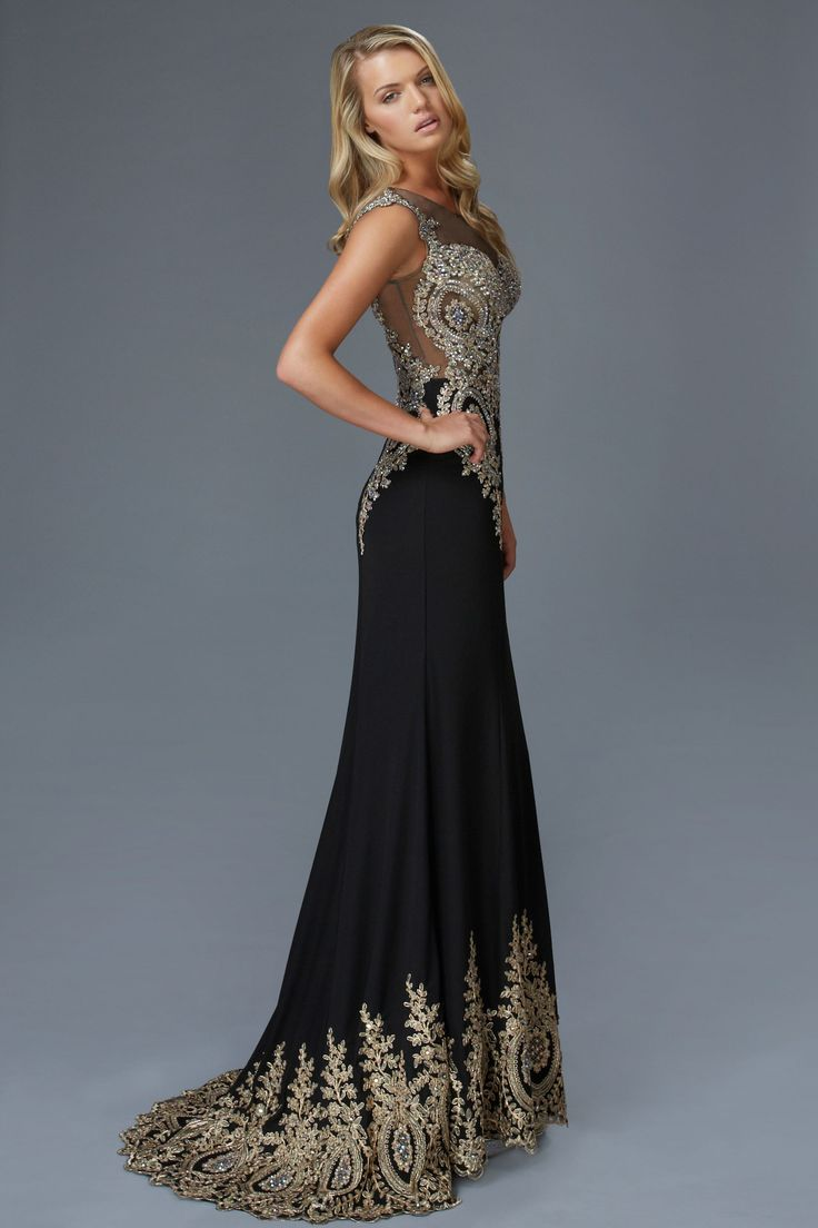Black With Gold Beaded Details