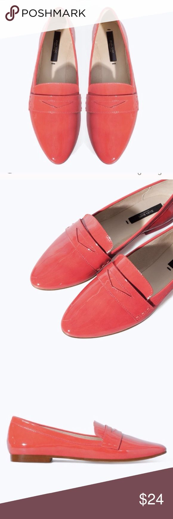 Zara coral Loafers Patent leather, coral colored Zara loafers, purchased here on Poshmark, but never worn. I do NOT like the way my feet look in them!! Zara Shoes Flats & Loafers