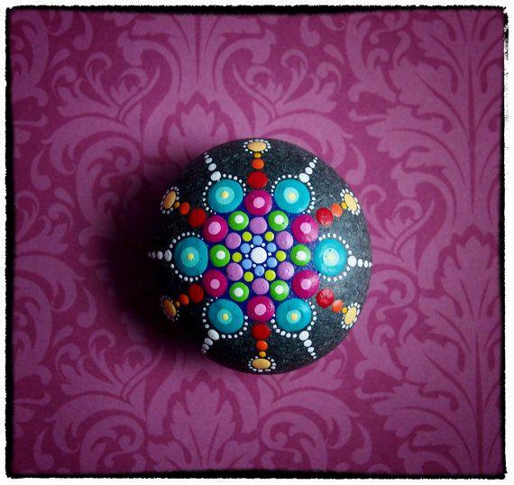 """Elspeth McLean Jewel Drop Mandala Painted Stone- """"Spring Fling"""""""