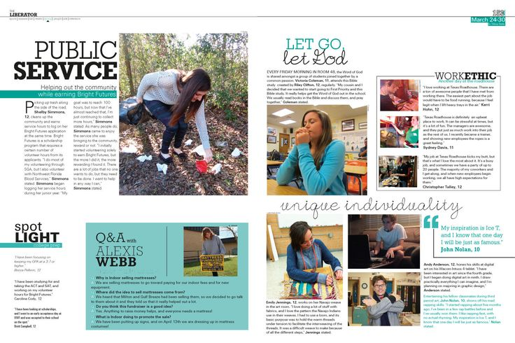 Cool page layout idea featuring clubs or student life. (Source: Liberator, Pace High School, Pace, FL).