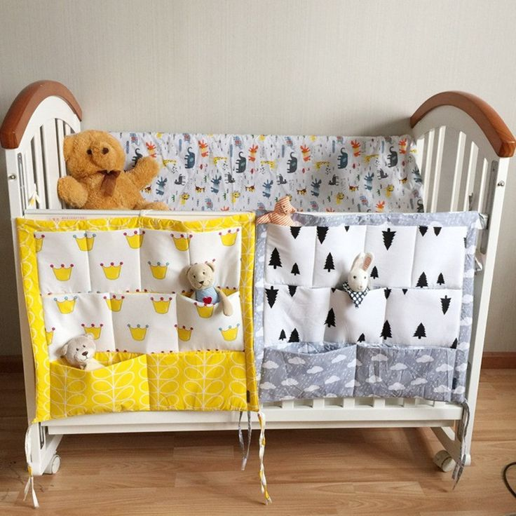 sale baby cot bed hanging storage bag crib organizer 6050cm toy diaper pocket for crib bedding #diaper #covers