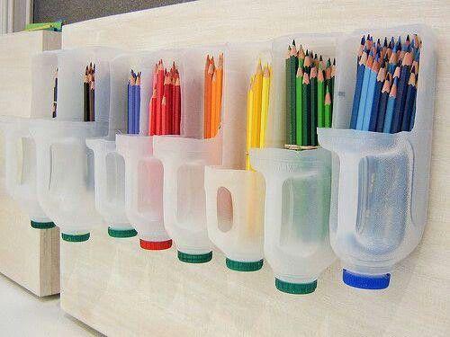 Pencil Storage - Plastic 1/2 gallon milk jugs!  So clever!