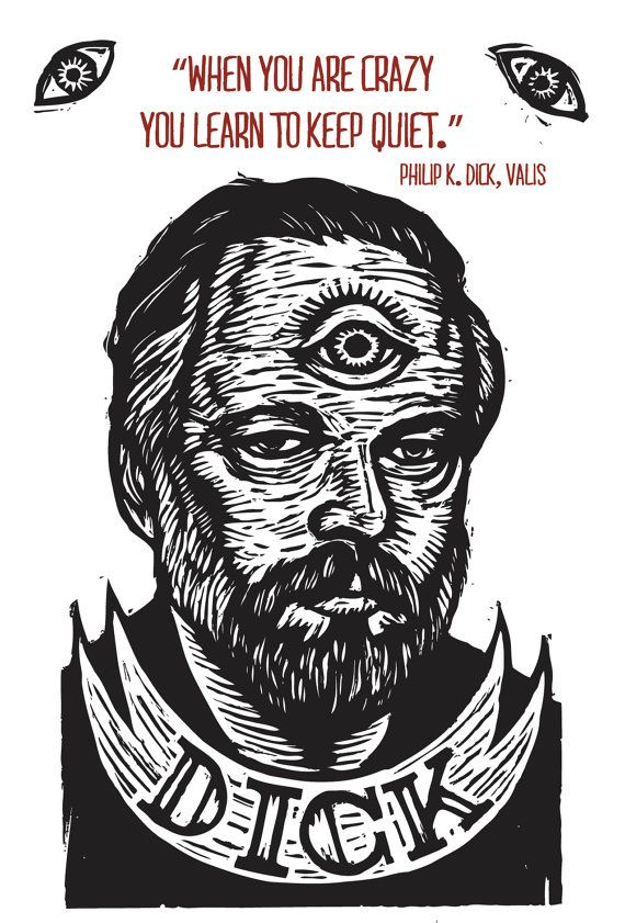 Philip K Dick Portrait Quote Postcard by HorseAndHare on Etsy, $2.00
