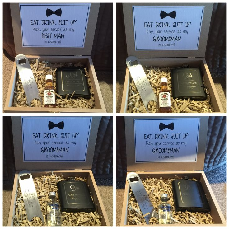 Gifts I made for my fiancee's Groomsmen - great way to ask them to be in the bridal party :) The pack included an engraved bottle opener, engraved hip flask & a nip of their favourite alcohol :)