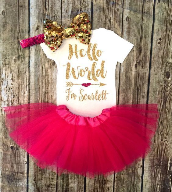 Hello World Baby Girl Onesie Gold and Hot Pink Personalized Baby Onesie - BellaPiccoli