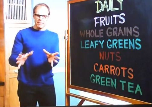 """How Alton Brown lost 50 pounds:  1. Daily Eats: Fruits, Whole Grains, Leafy Greens, Nuts, Carrots, and Green Tea.    2. Foods To Eat 3 Times A Week: Oily Fish, Yogurt, Broccoli, Sweet Potato, and Avocado.    3. Foods To Eat 1 Time A Week: Red Meat, Dessert, Pasta and Alcohol    4. Zero Times A Week: Fast Food, Soda, Processed Meals, Canned Soups and """"Diet"""" Anything"""