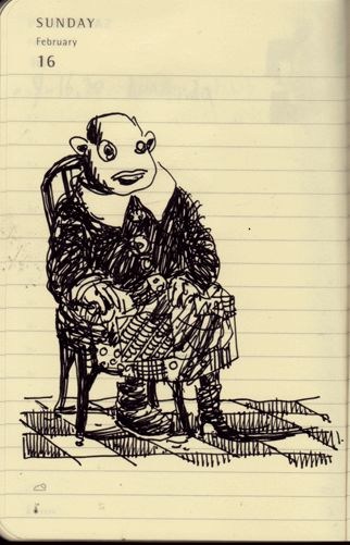 Il Dottor Strosser. Psichiatra deceduto ma seduto stabile su sedia stile francese. penna su agenda moleskine. 2014.