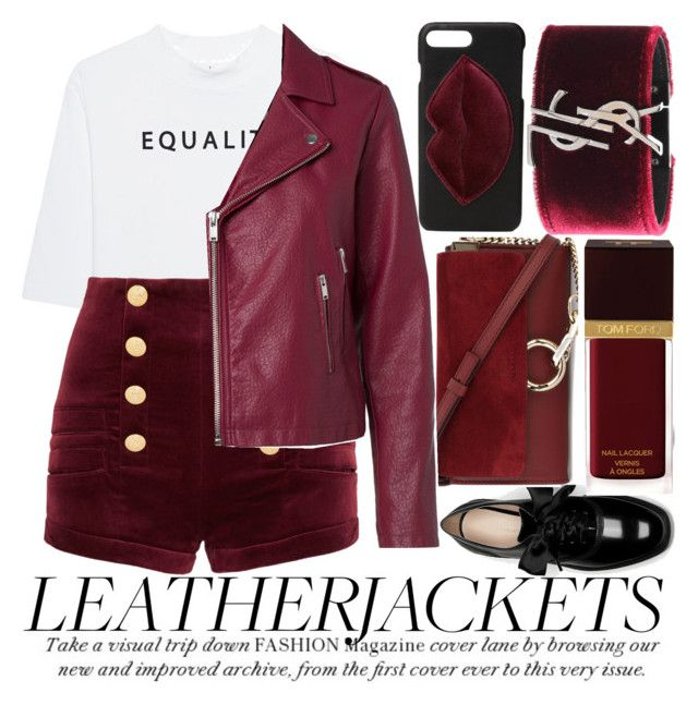 """""""COOL-GIRL STYLE: LEATHER JACKETS"""" by noraaaaaaaaa ❤ liked on Polyvore featuring Soufiane Ahaddach, Pierre Balmain, Chloé, Kendall + Kylie, Yves Saint Laurent, Tom Ford and leatherjackets"""