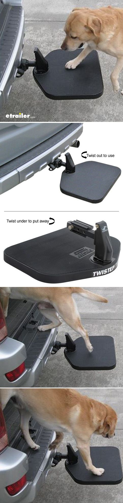 Help your small or arthritic dog get into and out of the back of your vehicle easily by providing him with a large, sturdy step. This unique platform slides into your trailer hitch receiver and conveniently rotates beneath the car when not in use.