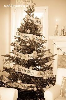 Download happy holidays hd wallpaper from festivals - Arbol de navidad blanco decorado ...