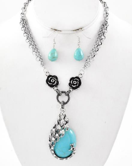 Burnished Silver Tone / Turquoise Stone & Clear Rhinestone / Lead Compliant / Animal / Peacock W/flower / Pendant / Necklace & Fish Hook Earring Set