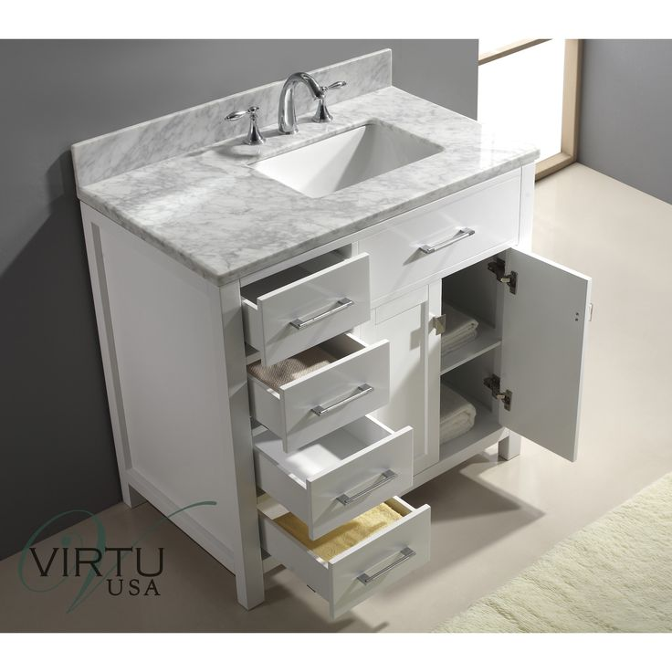 "Virtu Caroline Parkway 37"" Single Bathroom Vanity Set With Mirror"