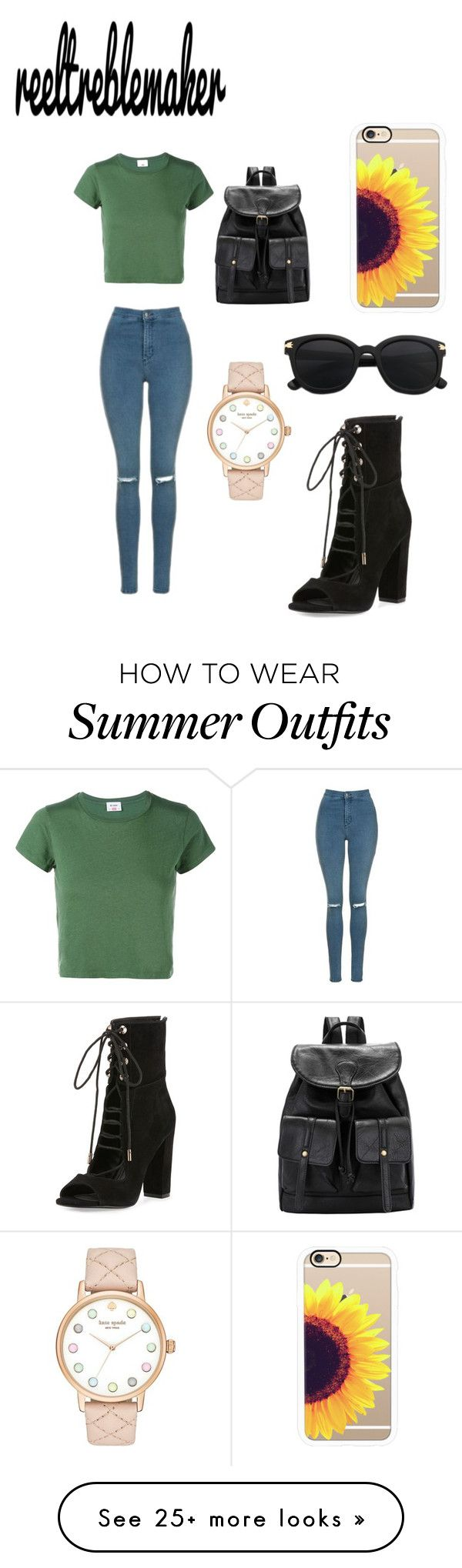 """Every day outfit"" by reeltreblemaker on Polyvore featuring RE/DONE, Topshop, Kate Spade, Kendall + Kylie and Casetify"