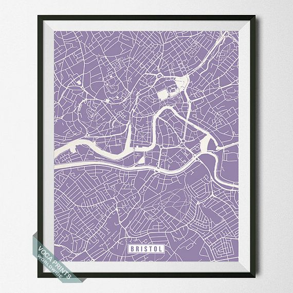 Bristol Print England Poster Bristol Map Bristol by VocaPrints