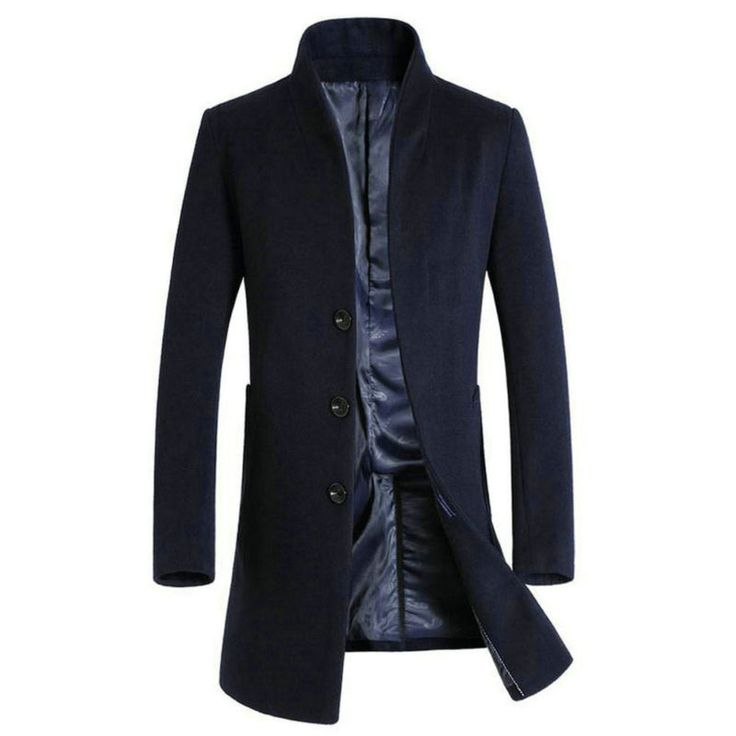 Mens Wool Trench Coat Jacket Mid Long Winter Reefer Jacket  Pea Coat Overcoat