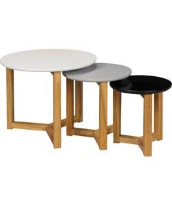 Hygena Round Coloured Nest of 3 Tables - Multicoloured.
