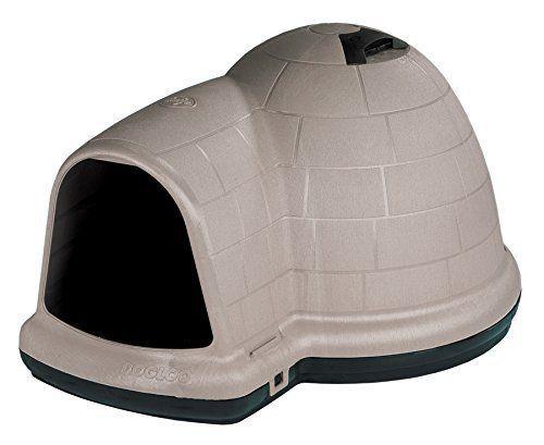 Dog Houses 108884: Petmate Indigo Outdoor Dog House, Medium Size Vented Dog Igloo, Taupe Black BUY IT NOW ONLY: $81.07