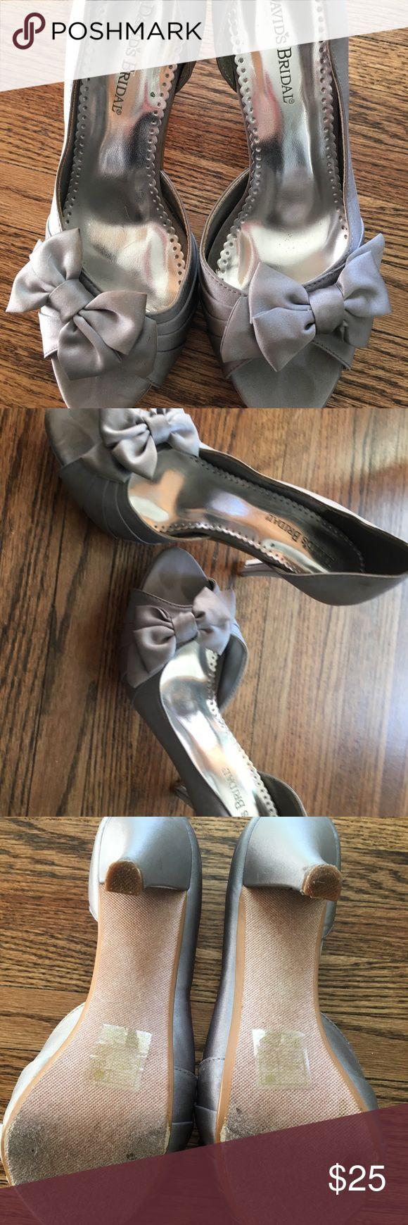David's Bridal Satin Peep Toe, Maribelle heels 8.5 David's bridal Maribelle heels. Davids bridal color- mercury. Worn once. Good condition David's Bridal Shoes Heels