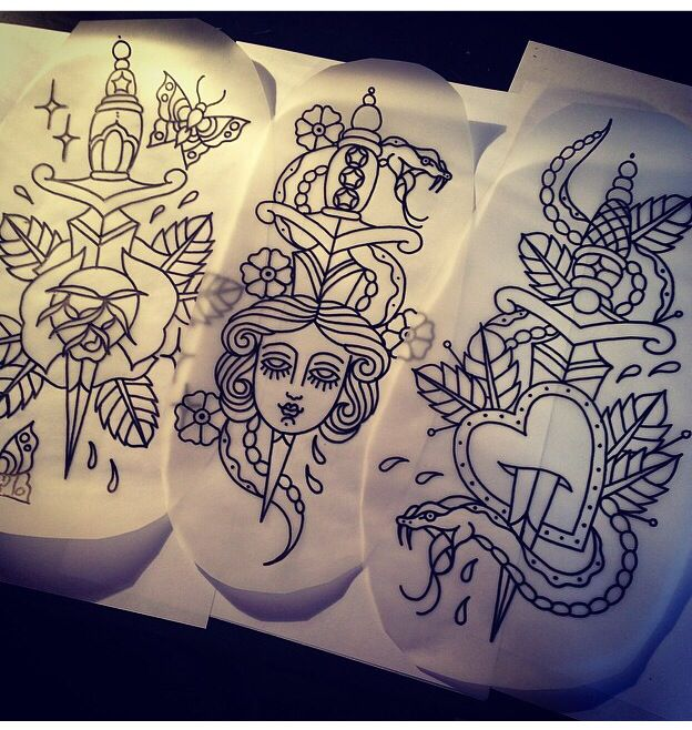 Traditional tattoos. Flash art. Dagger and roses. Snakes. Tattoo. By Kelly Smith Tattoos.