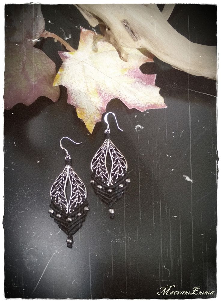 ..Black Macramme Leaves Earrings with Silver Details..by MacramEmma..