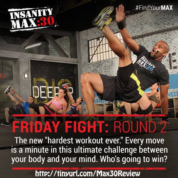 Insanity Max 30 review: You thought month 1 was tough!?! Here's Friday Fight: Round 2 - Every move is only 60 seconds. But it is the Hardest. Workout. EVER... http://www.onesteptoweightloss.com/insanity-max-30-review @homeweightloss #Insanity2Max30