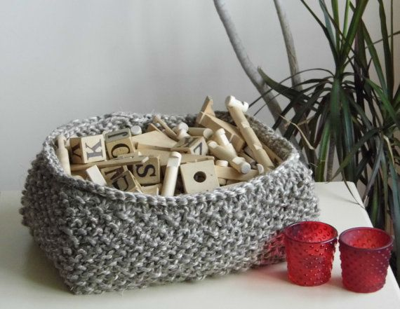 Hand Knitted Basket Linen Rope Natural by ELITAI on Etsy,
