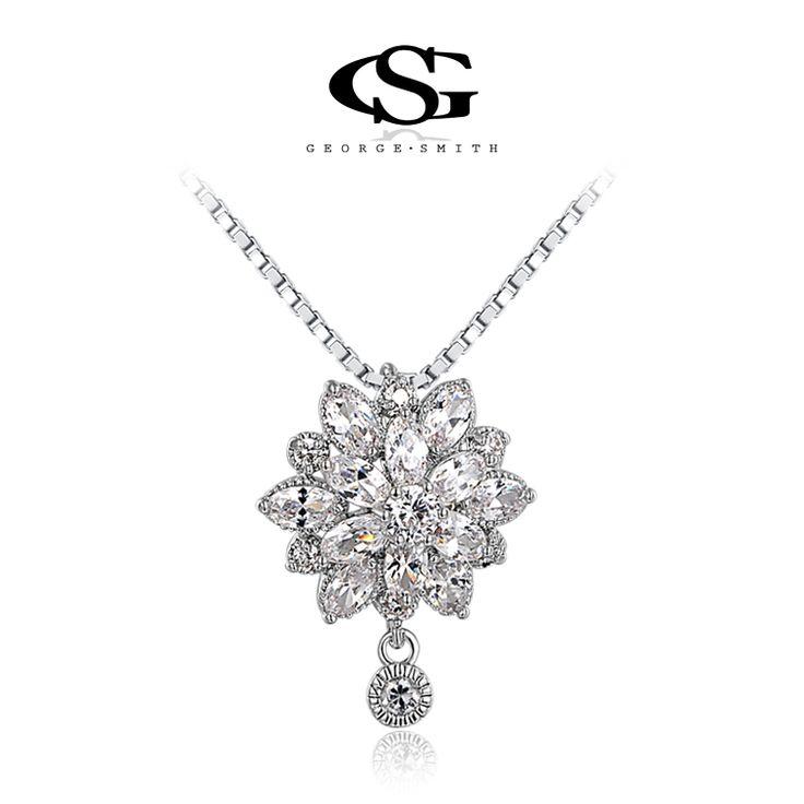 G & S Марка Себе Ожерелье Новогодний Подарок Для любовника Хрустальный Цветок Ожерелье Кулон Серебряная Цепь Моды ювелирные изделия