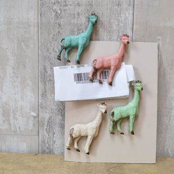 Set Of Four Pewter Giraffe Magnets