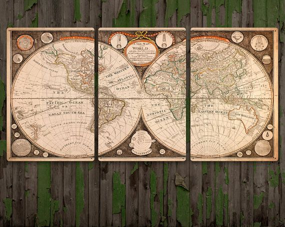 HUGE!! Vintage World and Planet Map on METAL triptych 72x36  $350.00
