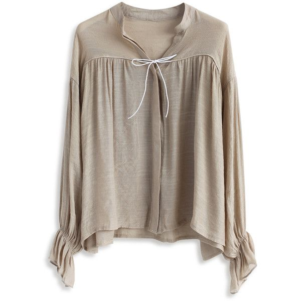 Chicwish Easy Mind Smock Top in Tan ($36) ❤ liked on Polyvore featuring tops, beige, flutter-sleeve top, frilly tops, brown tops, tan top and beige top