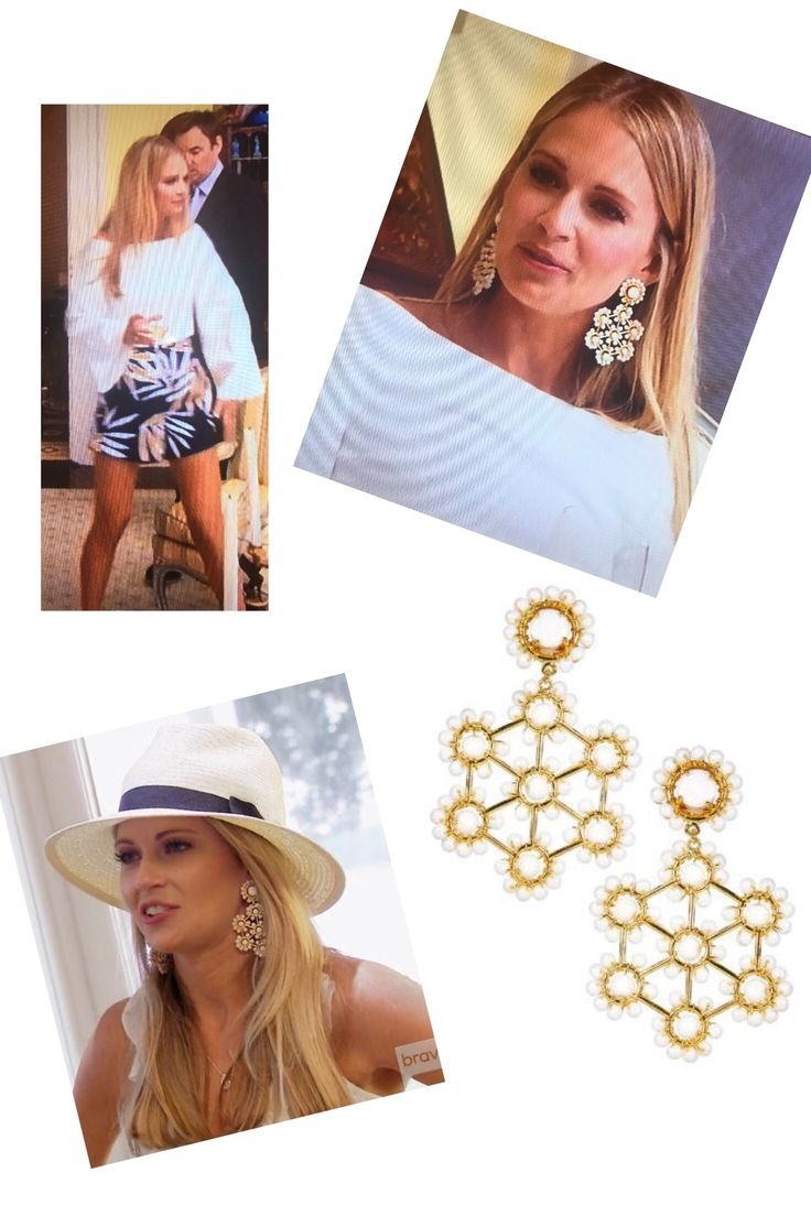 Cameran Eubanks' White Lisi Lerch Vivi Earrings http://www.bigblondehair.com/reality-tv/southern-charm/cameran-eubanks-white-statement-earrings/ Southern Charm Season 4 Fashion