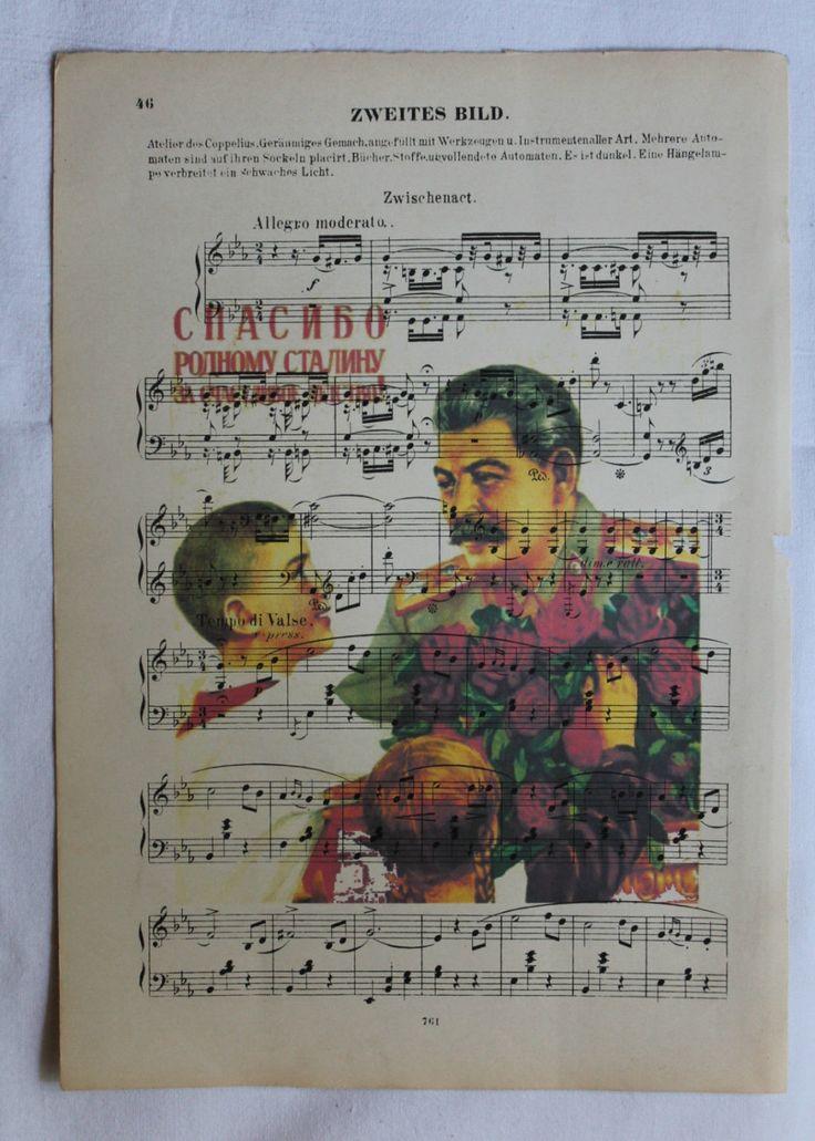 Printing / Antique sheet Music /Political Poster USSR/ Stalin /Soviet propaganda by Leryshop on Etsy