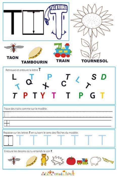 coloriage Page de lecture - écriture : la grande lettre T
