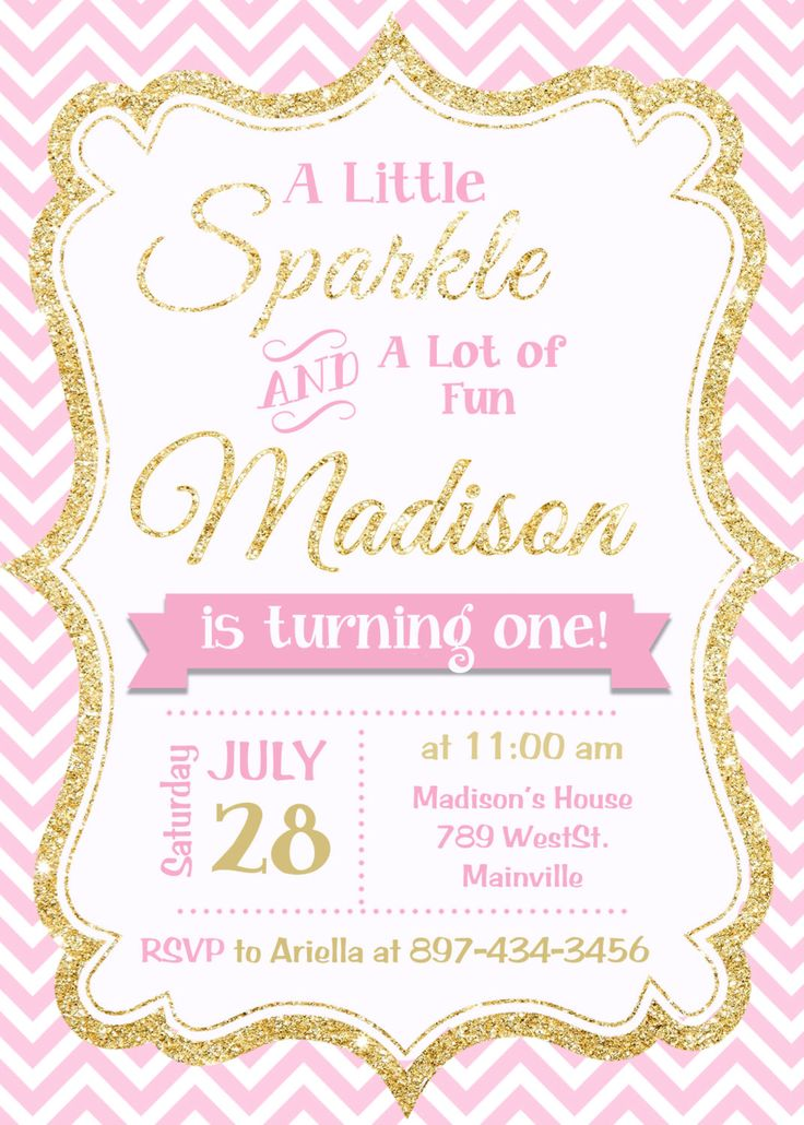 Pink and Gold invitation, Gold Glitter Invitation, 1st Birthday Invitation, Girl Birthday Invitation - Printable or Printed by PrettyPaperPixels on Etsy https://www.etsy.com/listing/253863383/pink-and-gold-invitation-gold-glitter