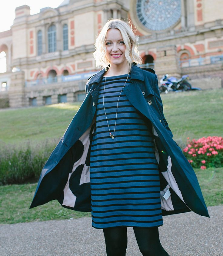 Lauren Laverne, DJ presenter and co-founder of The Pool, showing us her weekend style at Alexandra Palace in My Week in Boden.  Lauren loves the luxurious feel of our navy trench coat, which has an adjustable waste tie and can be teamed with smart heels for a perfectly polished look.