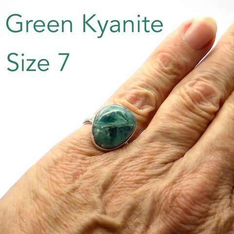 Ring Green Kyanite Cabochon | Freeform Shape | 925 Sterling Silver | Genuine Stone | Crystal Heart Melbourne Australia since 1986