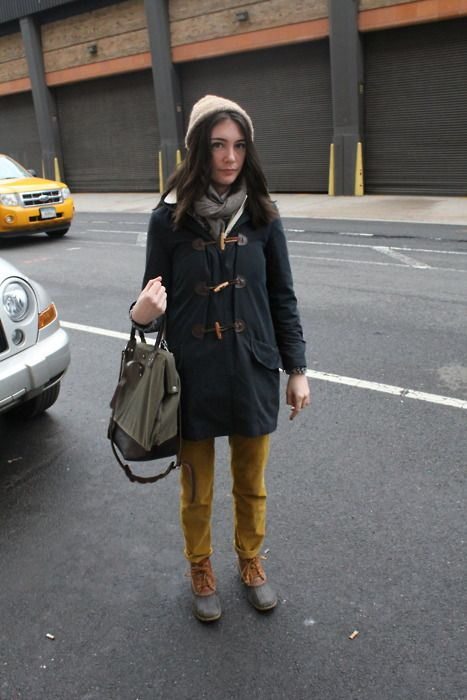 Is this Jess?: Bean Boots, Mustard Pants, Beans Boots Style, Yellow Pants, Street Style, Travel Women, Outfit, Ducks Boots, Winter Coats